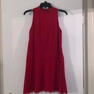 Red Lace Loft Mini Dress